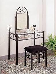 Vanity Mirror And Bench Set Amazon Com Black Metal Bedroom Vanity With Glass Table U0026 Bench
