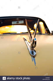 swan ornament on a 1948 packard classic car stock photo