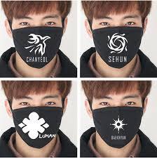 Masker Exo 2017 kpop mode wajah masker kpop exo exo m exo k xoxo wolf88 hitam