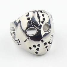 stainless steel mens rings jason mask hockey 316l stainless steel mens biker ring