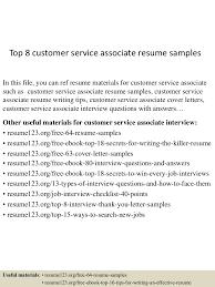 samples of resumes for customer service top8customerserviceassociateresumesamples 150424214821 conversion gate01 thumbnail 4 jpg cb 1429912162