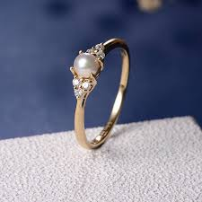 diamond pearl rings images Akoya pearl engagement ring cluster diamond ring wedding bridal jpg