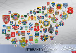 Map Of The Up Heraldic Map Of Hungary Made Up Of The Coats Of Arms Of Its Major