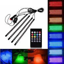 music led strip lights 4pcs set 8 colors rgb car led strip light l music control