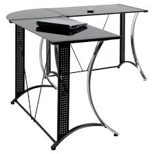 monterey l shaped desk chrome black glass target