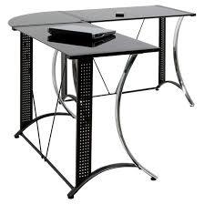 Glass And Chrome Desk Monterey L Shaped Desk Chrome Black Glass Target
