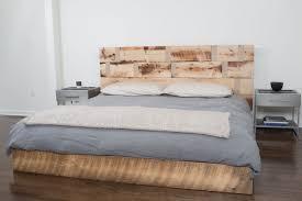 Platform Bed Headboard Furniture Cream Wooden Wood Platform Bed With Rectangle Headboard