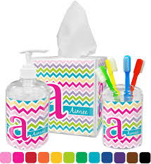 Tropical Bathroom Accessories by Colorful Chevron Bathroom Accessories Set Personalized Potty