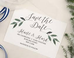 wedding invitations and save the dates greenery save the date template rustic wedding save the date