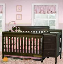 Changing Table Crib Combo Multi Function Espresso Solid Wooden Baby Crib Combo Dresser