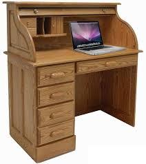 Laptop Desks 42 W Solid Oak Single Pedestal Roll Top Laptop Desk