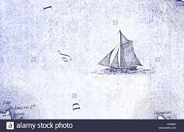 Navigation Map Old Map Navigation Chart With Sailing Ship Stock Photo Royalty