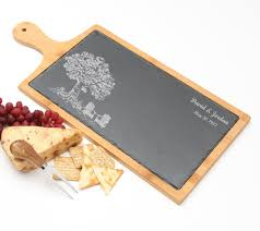 personalized cheese cutting board cheese board slate and bamboo wood 19 x 9 design 31