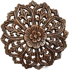 wood wall plaque round floral wood carved panel oriental home