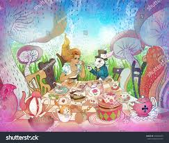 mad tea party alices adventures wonderland stock illustration
