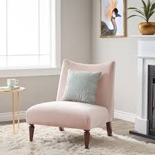 Velvet Accent Chair Furniture Blush Pink Velvet Accent Chair With Brown Wood Legs For