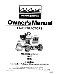 cub cadet lawn mower 1020 user guide manualsonline com
