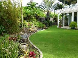 tropical landscape and yard with trellis u0026 exterior stone floors