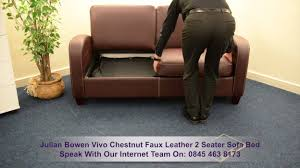 julian bowen vivo chestnut faux leather 2 seater sofa bed youtube