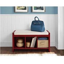 Walmart Entryway Furniture Ameriwood Home Penelope Red Entryway Storage Bench With Cushion
