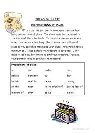 Preposition Practice Worksheets Treasure Hunt Worksheet Free Esl Printable Worksheets Made By