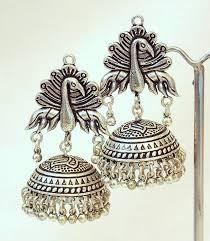 buy tribal german silver jhumka earring online