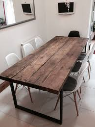 Reclaimed Timber Dining Table Reclaimed Industrial Chic 6 8 Seater Solid Wood And Metal Dining