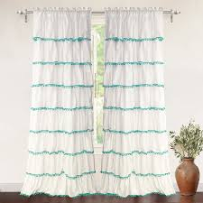 driftaway pom pom ruffle window curtain single panel one panel
