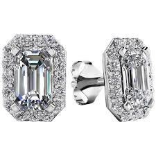 diamond earrings for sale 1 20 carat emerald cut diamond earrings for sale at 1stdibs
