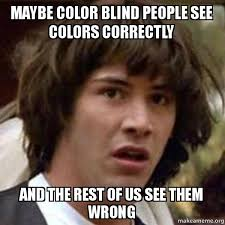 Blind Meme - maybe color blind people see colors correctly and the rest of us see