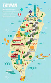 Taiwan Map Asia by Lovely Taiwan Travel Map In Flat Design Style Royalty Free