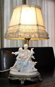 Antique Porcelain Table Lamps Figurines Boudoir Table Lamp