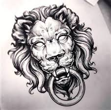 drawn tattoo lion pencil and in color drawn tattoo lion