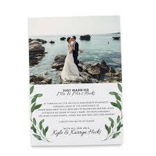 elopement announcements just married elopement announcement cards with leaves add your