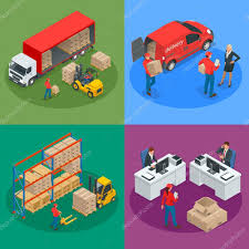 bureau logistique concept logistique isométrique et de livraison livraison à domicile
