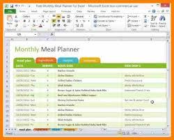 Meal Plan Excel Template Ms Excel Monthly Meal Planner Template Word Excel Templates