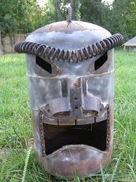 recycled metal yard art labels drum fire steel tiki