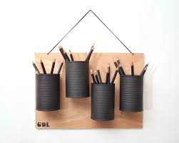 cool pen holders recycled hanging pencil holder recycled wood and tin cans
