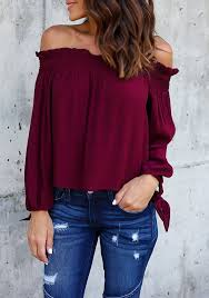 burgundy blouse burgundy pleated lace up shoulder boat neck sleeve casual