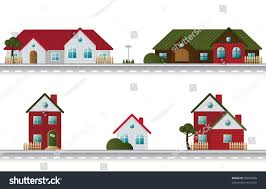 street houses different architectural styles stock vector 38535298