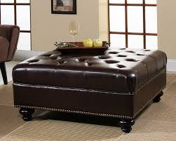 Large Ottoman With Storage Brown Leather Square Storage Ottoman Serving Tray For Large