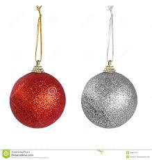 and silver baubles isolated white background