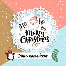 write name on merry wishes greetings and pictures