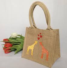 gift bags giraffe jute lunch bag destination jute tote bags