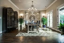 Contemporary Dining Room With Builtin Bookshelf  Interior Stone - Wall sconces for dining room