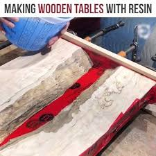 making a wood table bored panda making wooden tables with resin credit