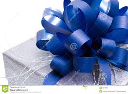 big present bow gift box with big blue bow stock image image of cardboard 6814457