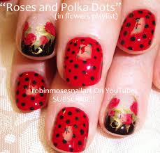 nail art by robin moses red roses and polka dots polka dot nail