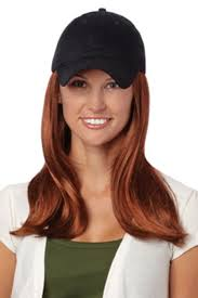 chemo hats with hair attached baseball cap with hair 8227 long hat black