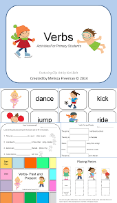 verbs activity pack matching games game boards and worksheets